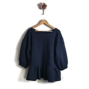 Maeve by Anthropologie Mikayla Peplum Navy Top NEW